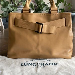 Auth Longchamp Tote Bag  Beiges Leather 1214142